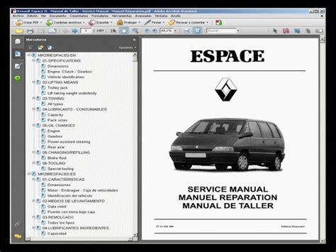 Renault Espace Fuse Box Diagram Manual by Renault Espace Ii Manual De Taller Workshop Manual