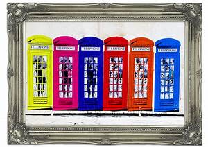Colourful telephone boxes maps art mural printed wall