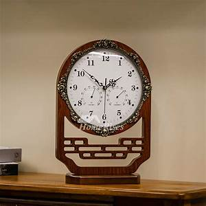 Wooden, Table, Clock, Large, Chinese, Style, Decorative, Vintage, Desk, Clock