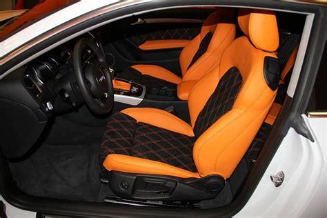 audi orange and black interior alcantara double diamond stitch grey silver auto addiction