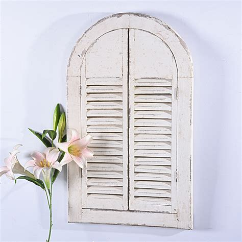 shabby chic vintage distressed white wood frame mirror  shutter doors buy frame mirror