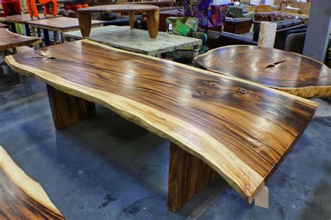 112 quot l dining table solid acacia wood live edge slab slc