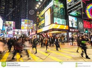 Night View Of People Walking At Crowded City. Hong Kong ...