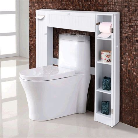 giantex wooden white shelf   toilet storage cabinet