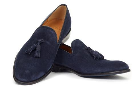Handmade Men Navy Tassel Loafer Shoes, Slipper Wedding