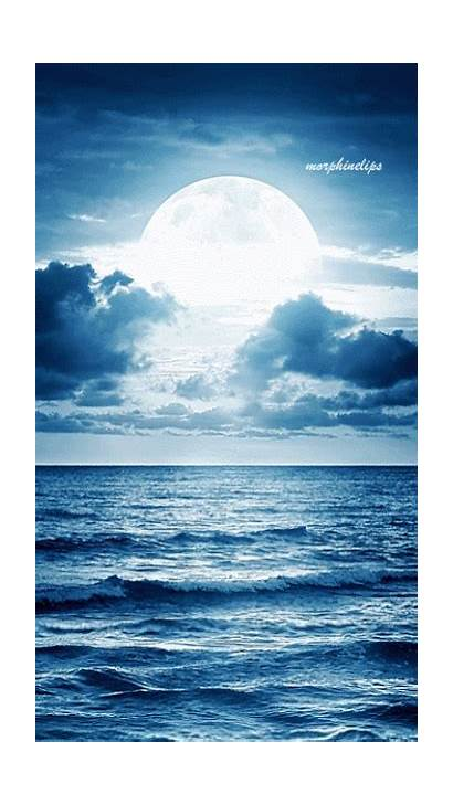Moon Ocean Gifs Nature Luna Paisagens Animated
