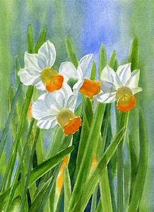 Orange Daffodils With Background Painting by Sharon Freeman