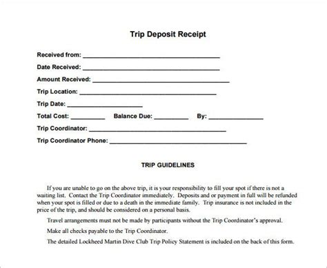 deposit receipt templates    premium
