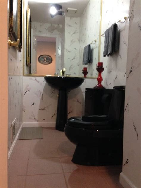 bathroom with black toilet are black bathroom fixtures in or out