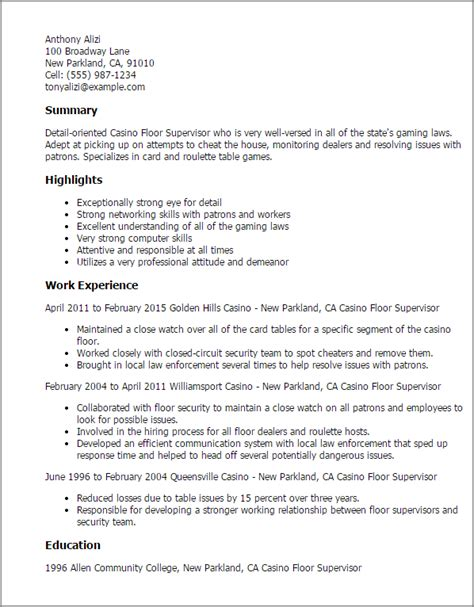 Resume For Casino Dealer professional casino floor supervisor templates to showcase your talent myperfectresume