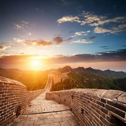 China Wall Sun Sunset Magazine Clouds Through