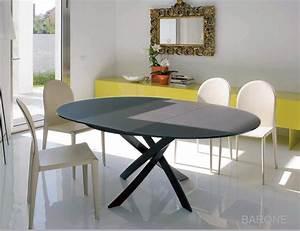 Table Ronde Extensible Design : table ronde extensible barone acier et verre d 125 l175 cm design by bontempi casa idees ~ Teatrodelosmanantiales.com Idées de Décoration