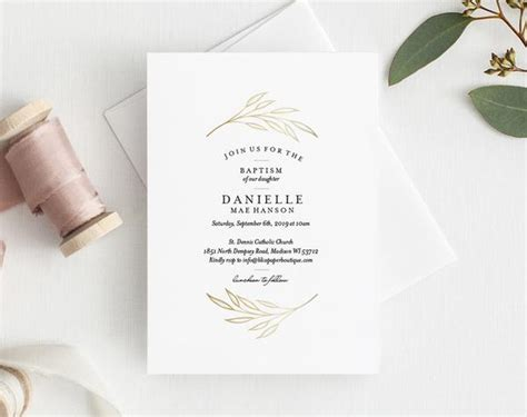 Faux Gold Baptism Invitation Baptism Invitation Template