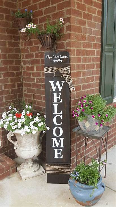 Welcome Door Sign Personalized Wood Porch Painted
