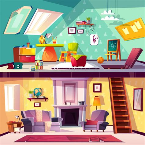 cross section background cartoon interior  child