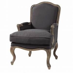 Fauteuil Maison Du Monde : fauteuil en lin taupe gris ch teau maisons du monde ~ Teatrodelosmanantiales.com Idées de Décoration