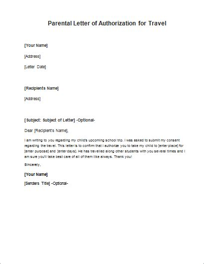 Travel Recommendation Template by Parent Consent Letter For Travelling Writeletter2