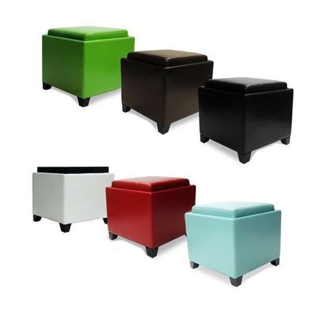 cube ottoman with tray armen living contemporary storage ottoman with tray by