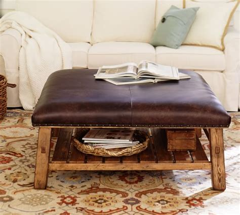 pottery barn leather coffee table caden leather square ottoman pottery barn
