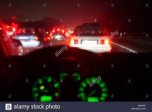 Blurry view from inside of a car at night Stock Photo ...