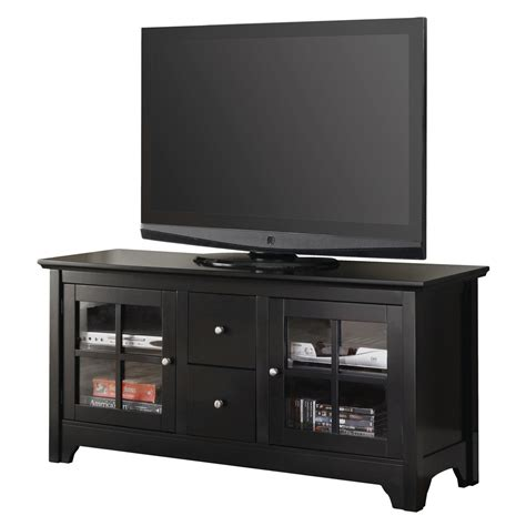 Walker Edison 52 In Black Wood Tv Stand With Drawers