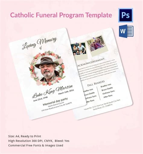 funeral program template 13 sle catholic funeral program templates sle templates