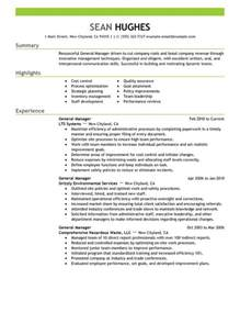 Generic Resume Sles by Unforgettable General Manager Resume Exles To Stand Out