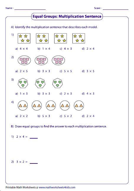 equal groups multiplication sentences multiplication
