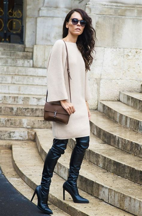 How To Wear Thigh High Boots With Skirts And Dresses | GlamInspire.com