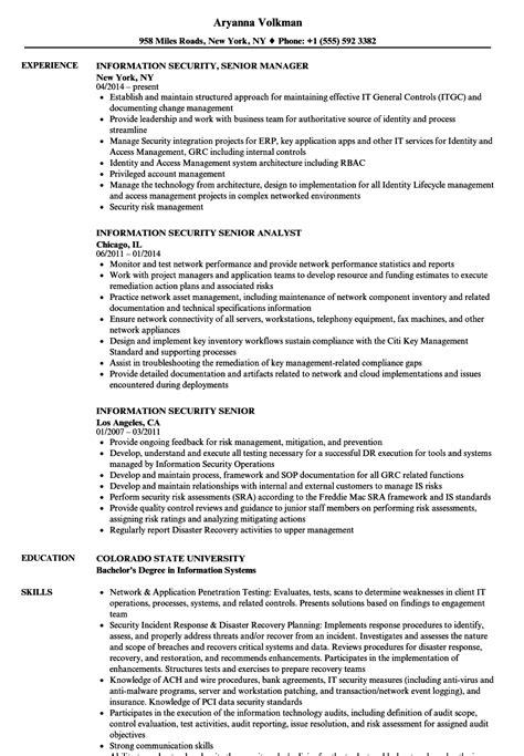 Information Security Resume by Information Security Senior Resume Sles Velvet