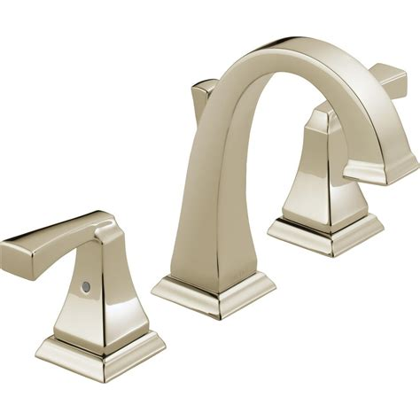 delta dryden polished nickel 2 handle widespread