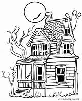 Pages Coloring Haunted Halloween Colouring sketch template