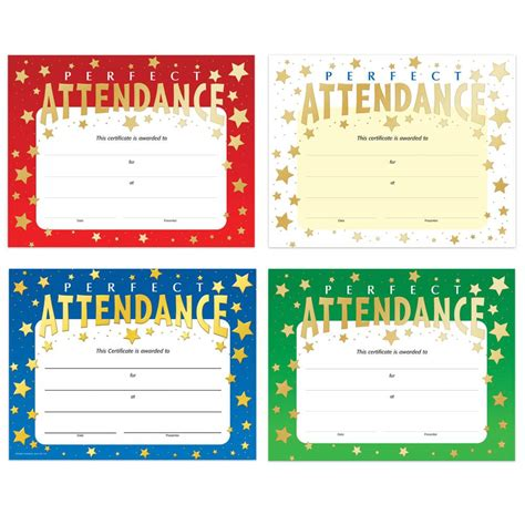 perfect attendance gold foil stamped certificate  piece