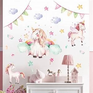 Wandtattoo Für Kinderzimmer : 074 wandtattoo einhorn pastell regenbogen kinderzimmer ~ A.2002-acura-tl-radio.info Haus und Dekorationen