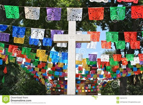 White Cross With Colorful Flags, Mexico Stock Image ...