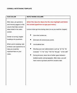cornell notes template 9 free word pdf documents With note to file template