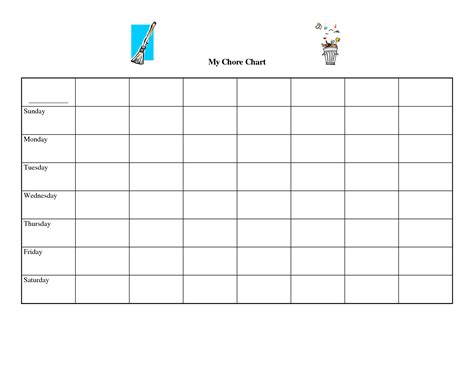 Free Chore Chart Template by 9 Best Images Of Blank Weekly Potty Chart Printable