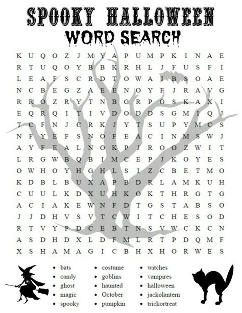 printable halloween activity sheets word search and