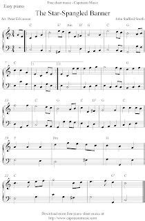 easy piano sheet  score  star spangled