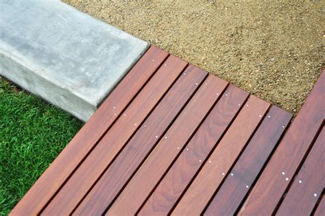 hardwood deck poured concrete walls decomposed granite