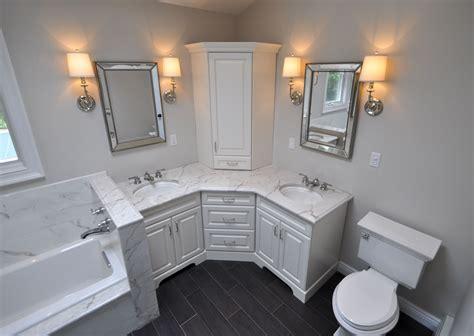 custom master bathroom  double corner vanity tower