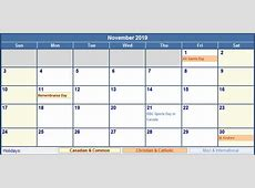 November 2019 Canada Calendar with Holidays for printing