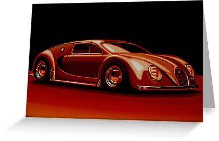 """Discover modern designs up to 70% off. """"Bugatti Veyron 1945 Painting"""" Greeting Card by ..."""