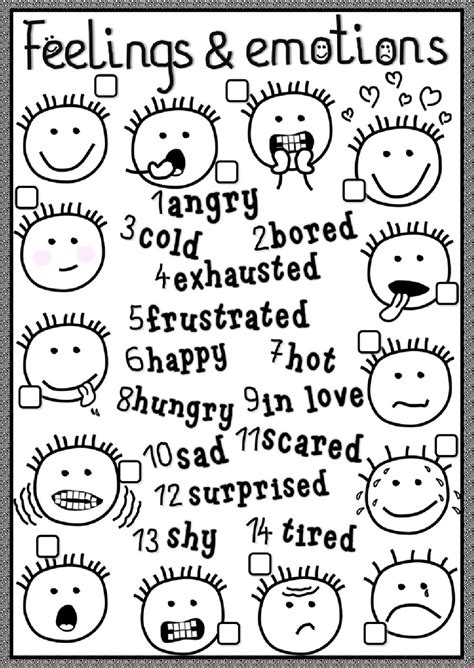 feelings  emotions interactive worksheet