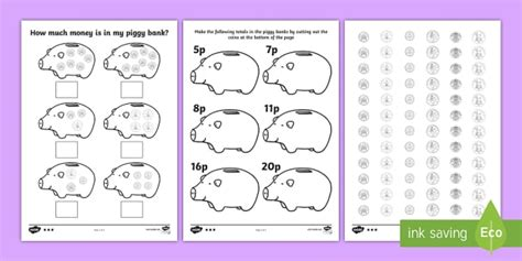 money worksheets twinkl how much money is in my piggy bank differentiated