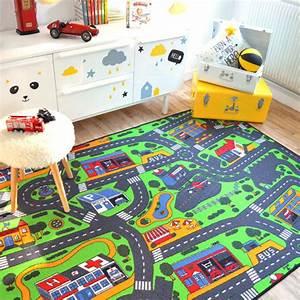 Tapis Pour Chambre Enfant : tapis de jeu circuit voiture ville 145 x 200 cm ~ Melissatoandfro.com Idées de Décoration