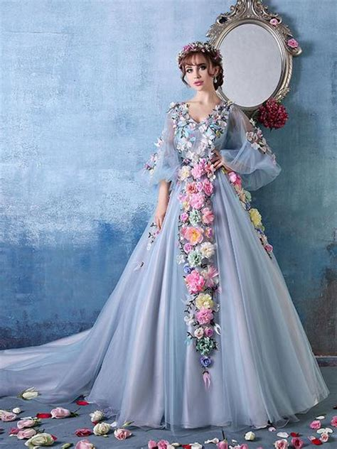 long sleeves ball gown evening dress  colored flowers