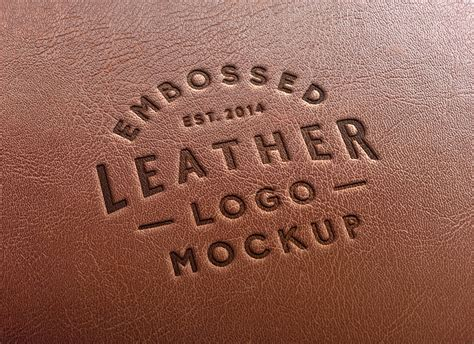 leather stamping logo mockup  graphicburger