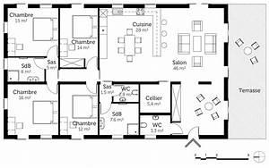 plan maison de plain pied 160 m2 avec 4 chambres ooreka With plan maison demi niveau 7 plan maison 4 chambres maison moderne
