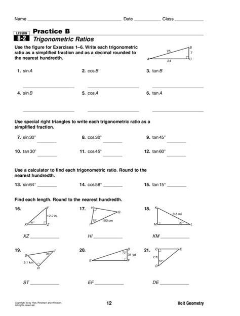 Functional Maths Ratio Worksheets  Trigonometric Ratios Worksheet Tesccc Sheetsfree Math